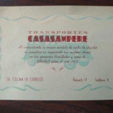 Coleccionismo: TARJETA DE FELICITACIÓN NAVIDEÑA DEL 1953 TRANSPORTES CASASAMPERE DE SANTA COLOMA DE CERVELLO. Lote 207118263