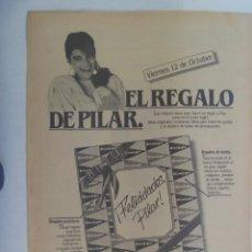 Coleccionismo: HOJA DE PERIODICO CON PUBLICIDAD DE EL CORTE INGLES , DIA DEL PILAR. AÑOS 80. Lote 207128966