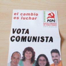 Coleccionismo: ANTIGUO PROGRAMA ELECTORAL PARTIDO COMUNISTA DEL PUEBLO CANARIO. Lote 207191945