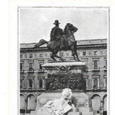 Coleccionismo: AÑO 1915 RECORTE PRENSA MONUMENTO ESCULTURA EQUESTRE VICTOR MANUEL PLAZA DEL DUOMO MILAN ITALIA. Lote 207344572