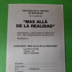 Coleccionismo: MÁS ALLÁ REALIDAD PROGRAMAS MANO SORTEO MOCHILAS CONCURSO MADRID. Lote 207357586