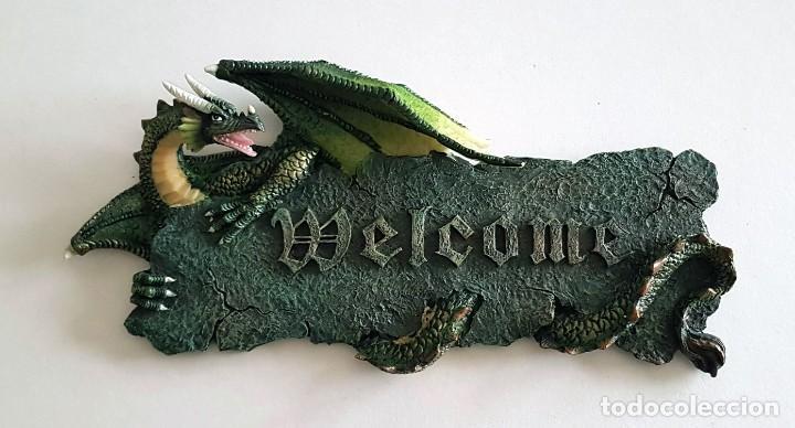 WELCOME PLACA COLGAR RESINA DRAGON (Coleccionismo - Varios)