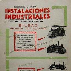 Coleccionismo: PPIOS 1900-CARTEL FABRICA MAQUINARIA-BILBAO-ALTOS HORNOS VIZCAYA-RASPEIG CEMENTO EL CALAMAR ALICANTE. Lote 207921218