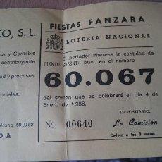 Coleccionismo: PAPELETA SOBRE NUMERO LOTERIA AÑO 1986 - -- NUMERO 60067. Lote 207924758