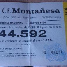 Coleccionismo: PAPELETA SOBRE NUMERO LOTERIA AÑO 1986 -- - - NUMERO 44592. Lote 207924837