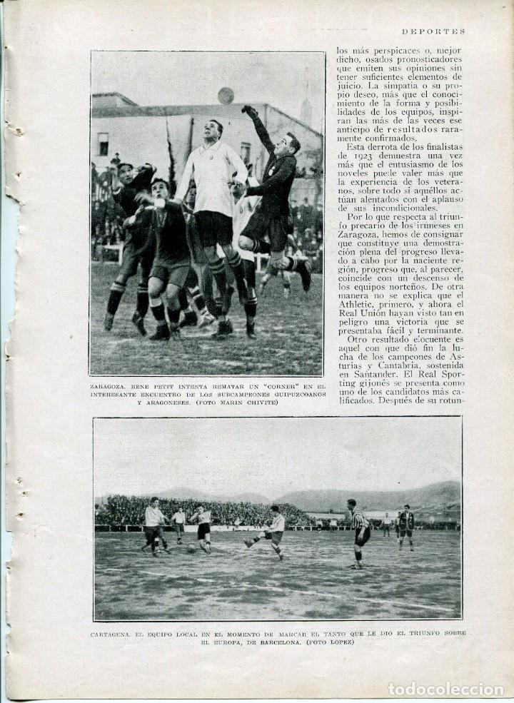 3 HOJAS LÁMINA-FUTBOL-CAMPO ZARAGOZA Y CAMPO CARTAGENA-PAULINO UZCUDUN-AÑO 1927- (Coleccionismo - Laminas, Programas y Otros Documentos)
