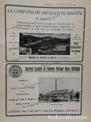 PPIOS. 1900-CARTEL-FABRICA ASFALTOS MAESTU-CEMENTO HISPANIA-YELES-CONSTRUCCIONES BARCELONA-MOLINS (Coleccionismo - Laminas, Programas y Otros Documentos)