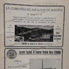 Coleccionismo: PPIOS. 1900-CARTEL-FABRICA ASFALTOS MAESTU-CEMENTO HISPANIA-YELES-CONSTRUCCIONES BARCELONA-MOLINS. Lote 209037770