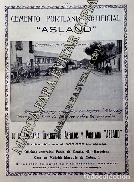 PPIOS. 1900-CARTEL-CEMENTO ASLAND BARCELONA OCAÑA ALICANTE-RENAULT DAMBORENEA-URIBASTERRA-BILBAO (Coleccionismo - Laminas, Programas y Otros Documentos)