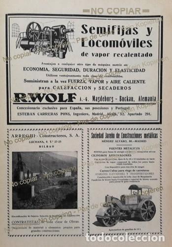 PPIOS. 1900-CARTEL-R WOLF MAGDEBURG-ARREGUI BILBAO-JAREÑO APISONADORA-FRANCO ESPAÑOLA-ITUARTE-HIERRO (Coleccionismo - Laminas, Programas y Otros Documentos)