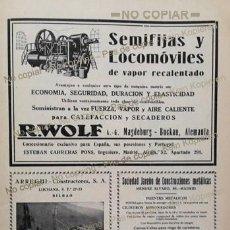 Coleccionismo: PPIOS. 1900-CARTEL-R WOLF MAGDEBURG-ARREGUI BILBAO-JAREÑO APISONADORA-FRANCO ESPAÑOLA-ITUARTE-HIERRO. Lote 209045571