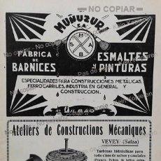 Coleccionismo: PPIOS. 1900-CARTEL-MUÑUZURI FÁBRICA BARNICES BILBAO-LABORATORIO INGENIEROS- MECANIQUE VEVEY SUIZA. Lote 209046471