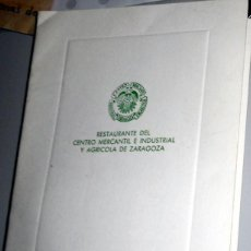 Coleccionismo: MINUTA RESTAURANTE PRIMERA COMUNION - RESTAURANTE CASINO MERCANTIL - ZARAGOZA - ANTIGUO 1987. Lote 210607311
