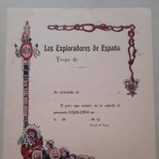 Coleccionismo: ESCULTISMO /EXPLORADORES/ BOY SCOUTS: DIPLOMA DE EXPLORADORES DE ESPAÑA AÑOS 30 APROX. Lote 210784865