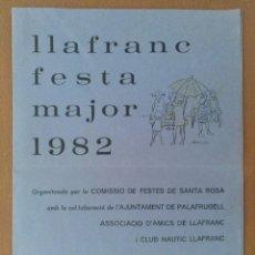 Collezionismo: PROGRAMA FESTA MAJOR LLAFRANC 1982 CON PUBLICIDAD. Lote 211945793