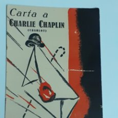 Coleccionismo: CARTA A CHARLIE CHAPLIN, POR LUIS ESCOBAR, AÑO 1937. Lote 212426551