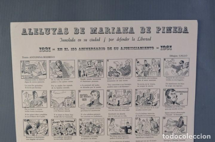Coleccionismo: Auca/Aleluya Aleluyas de Mariana de Pineda, Inmolada en su ciudad, por defender la libertad, 1981 - Foto 2 - 213386818