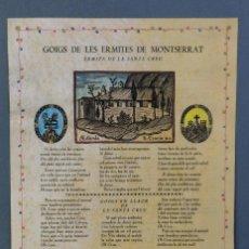 Coleccionismo: 24 GOIGS/ALELUYAS DE LES ERMITES DE MONTSERRAT-PRIMERA EDICIÓN DE 1968-JOAN RIUS I VILA EDITOR. Lote 213387720