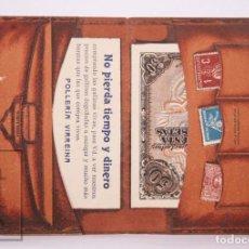 Coleccionismo: ANTIGUA FUNDA PUBLICITARIA DE PAPEL, TROQUELADA CON FORMA DE CARTERA - POLLERÍA VIRREINA. Lote 213683486