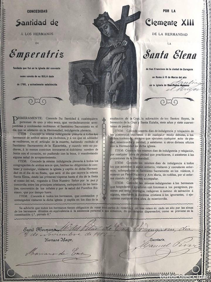 Coleccionismo: ZARAGOZA 1912 / HERMANDAD DE SANTA ELENA ( CONVENTO DE SAN FRANCISCO ) INDULGENCIAS / LAMINA 42 x 31 - Foto 2 - 214527611