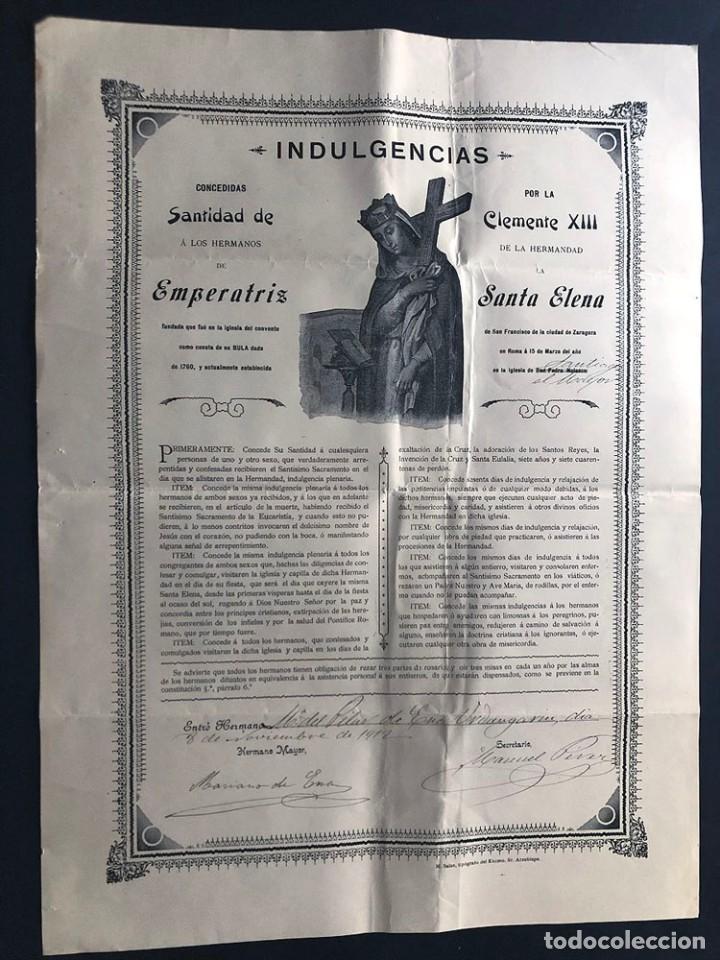 ZARAGOZA 1912 / HERMANDAD DE SANTA ELENA ( CONVENTO DE SAN FRANCISCO ) INDULGENCIAS / LAMINA 42 X 31 (Coleccionismo - Laminas, Programas y Otros Documentos)