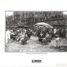Coleccionismo: GIJÓN: LÁMINA DE VERANEANTES EN LA PLAYA DE SAN LORENZO ( 1932 ). Lote 214538756