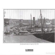 Coleccionismo: GIJÓN: LÁMINA DEL DESEMBARCO DE MADERA EN EL MUELLE DE LEQUERICA ( 1926-1930 ). Lote 214538888