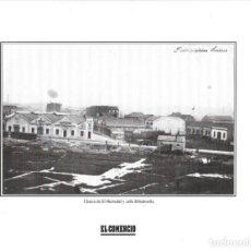 Coleccionismo: GIJÓN: LÁMINA DE LA CHARCA DE EL HUMEDAL Y CALLE RIBADESELLA.. Lote 214539758
