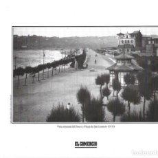 Coleccionismo: GIJÓN: LÁMINA DEL PASEO Y PLAYA DE SAN LORENZO EN 1935. Lote 214540112