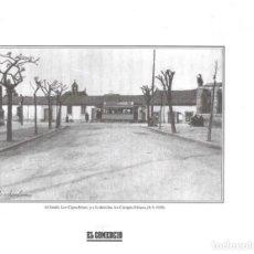 Coleccionismo: GIJÓN: LÁMINA DEL CRUCE DE LOS CAMPOS ELÍSEOS EN 1930. Lote 214540496