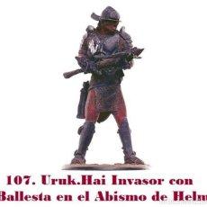 Coleccionismo: EL SEÑOR DE LOS ANILLOS. FIGURA DE PLOMO Nº 107 URUK-HAI INVASOR. CON CAJA.. Lote 244599145