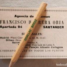Collectionnisme: AÑOS 20, RETAL DE PUBLICACION, PUBLICIDAD AGENCIA DE ADUANAS FRANCISCO HERRERA ORIA, SANTANDER. Lote 214849443