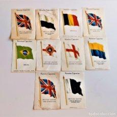 Coleccionismo: KENSITAS CIGARETTES LOTE DE 10 BANDERAS DE TELA TIPO SEDA DE 5 X 7.5.CM DE COLECCION CIGARRILLOS. Lote 215296055