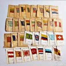 Coleccionismo: KENSITAS CIGARETTES LOTE DE 32 BANDERAS DE TELA TIPO SEDA DE 5 X 7.5.CM DE COLECCION CIGARRILLOS. Lote 215297940