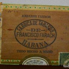 Coleccionismo: CAJA DE PUROS HABANOS- CUBA FARACHS (( 25 LONDRES ))VACIA - PRE- EMBARGO. Lote 215914992