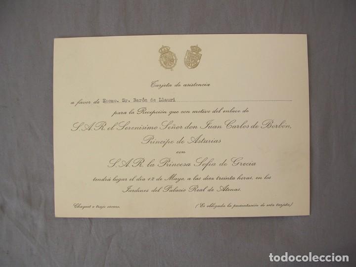 INVITACION BODA DON JUAN CARLOS DE BORBON CON DOÑA SOFIA MAS UN PROGRAMA DE PRESENTACION (Coleccionismo - Laminas, Programas y Otros Documentos)
