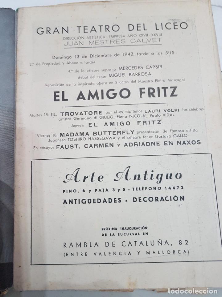 ÚNICO!!! PROGRAMA GRAN TEATRO DEL LICEO EL AMIGO FRITZ - 1942 (Coleccionismo - Laminas, Programas y Otros Documentos)