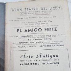 Coleccionismo: ÚNICO!!! PROGRAMA GRAN TEATRO DEL LICEO EL AMIGO FRITZ - 1942. Lote 217563331