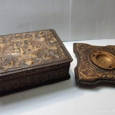 Coleccionismo: CONJUNTO CIGARRERA Y CENICERO EN CUERO REPUJADO Y PATINADO MOTIVOS GOYA PRINCIPIO 1900. Lote 217583940