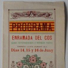 Coleccionismo: DÍPTICO - PROGRAMA / ENRAMADA DEL COS - SALLENT - ANY 1911 / IDIOMA: CATALÀ. Lote 193411986