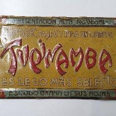 Coleccionismo: CHAPA ANTIGUA ORIGINAL TUPINAMBA 35 X 12,5. TINTORÉ Y OLLER BARCELONA. CON ALGUNOS ROCES. Lote 217627517
