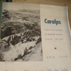 Coleccionismo: CARALPS FIESTS PATRON SAN JAIME 1948 . QUERALBS. Lote 217704075