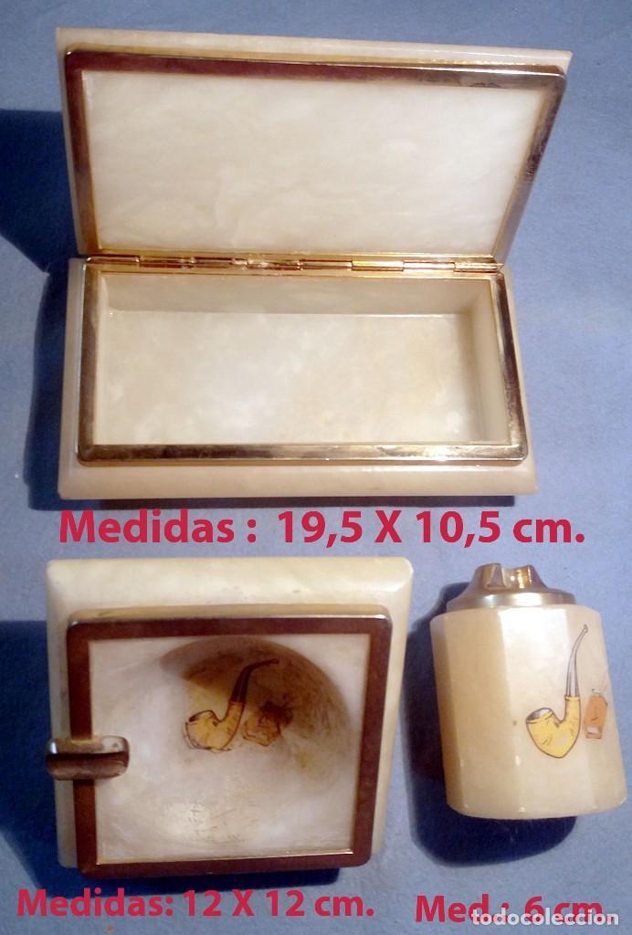 PRECIOSO JUEGO EN ALABASTRO DE CIGARRERA, CENICERO Y PORTA ENCENDEDOR.CON LATON DORADO (Coleccionismo - Objetos para Fumar - Otros)