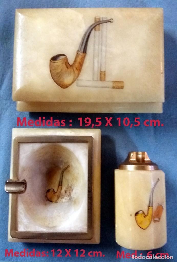 Coleccionismo: PRECIOSO JUEGO EN ALABASTRO DE CIGARRERA, CENICERO Y PORTA ENCENDEDOR.CON LATON DORADO - Foto 2 - 217807028