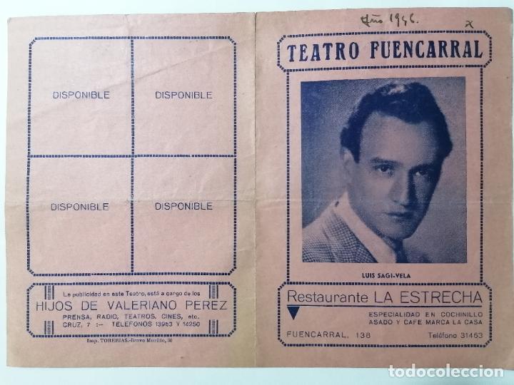 TEATRO FUENCARRAL,COMEDIA MUSICAL LLEVAME EN TU COCHE, AÑO 1946 (Coleccionismo - Laminas, Programas y Otros Documentos)