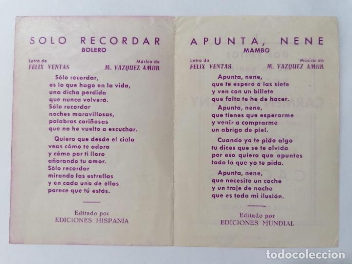 Coleccionismo: PROGRAMA SALA DE FIESTAS, CACTUS CON CARMEN GALVANY, AÑOS 40 - Foto 2 - 218060620