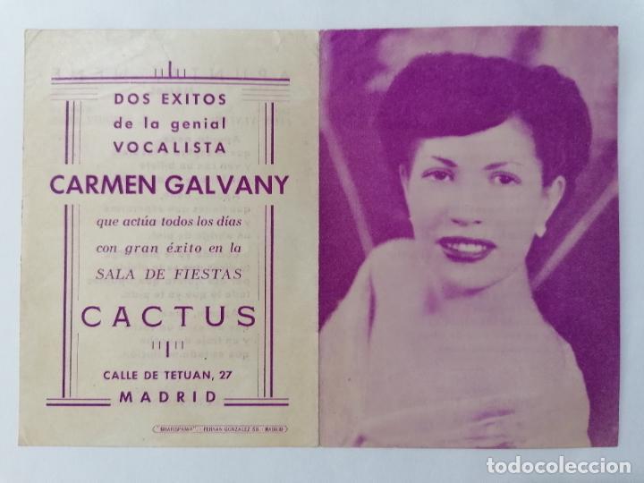 PROGRAMA SALA DE FIESTAS, CACTUS CON CARMEN GALVANY, AÑOS 40 (Coleccionismo - Laminas, Programas y Otros Documentos)