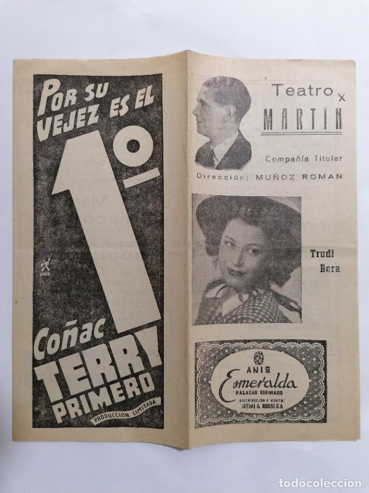 TEATRO MARTIN, COMPAÑIA MUÑOZ ROMAN, PROGRAMA DOÑA MARIQUITA DE MI CORAZON, AÑOS 40 (Coleccionismo - Laminas, Programas y Otros Documentos)