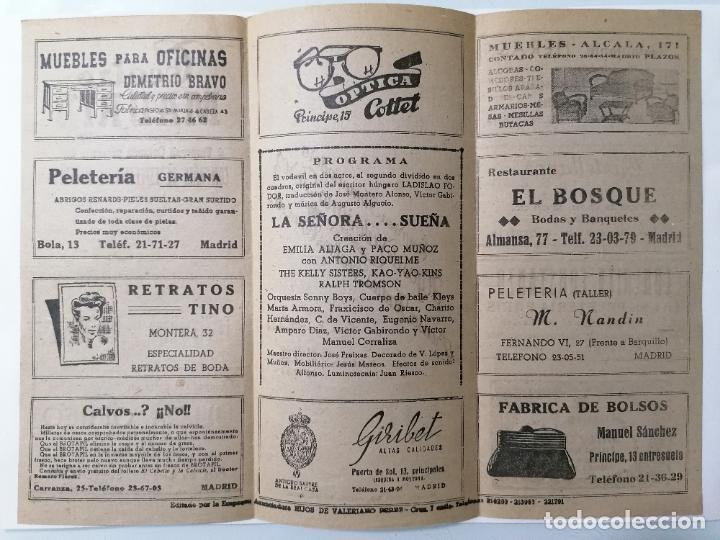 Coleccionismo: TEATRO MADRID, COMPAÑIA COLSADA, PRESENTA LA SEÑORA ...SUEÑA, AÑO 1947 - Foto 2 - 218060755