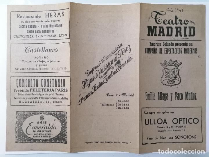 TEATRO MADRID, COMPAÑIA COLSADA, PRESENTA LA SEÑORA ...SUEÑA, AÑO 1947 (Coleccionismo - Laminas, Programas y Otros Documentos)